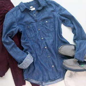 Loft The Softened Shirt Chambray Button Front